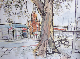 lucinda rogers drawing ink watercolour king's cross london tree