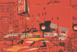 thumbnail lucinda rogers drawing new york detail street scene traffic yellow taxi cab