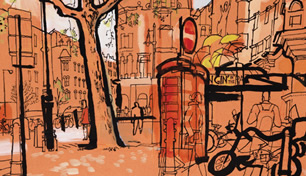 lucinda rogers drawing london Cambridge Circus Palace Theatre red phonebooth street scene