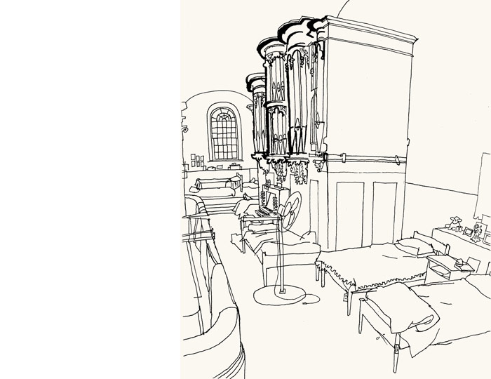 lucinda rogers ground zero line drawing september 11 new york city st pauls chapel beds