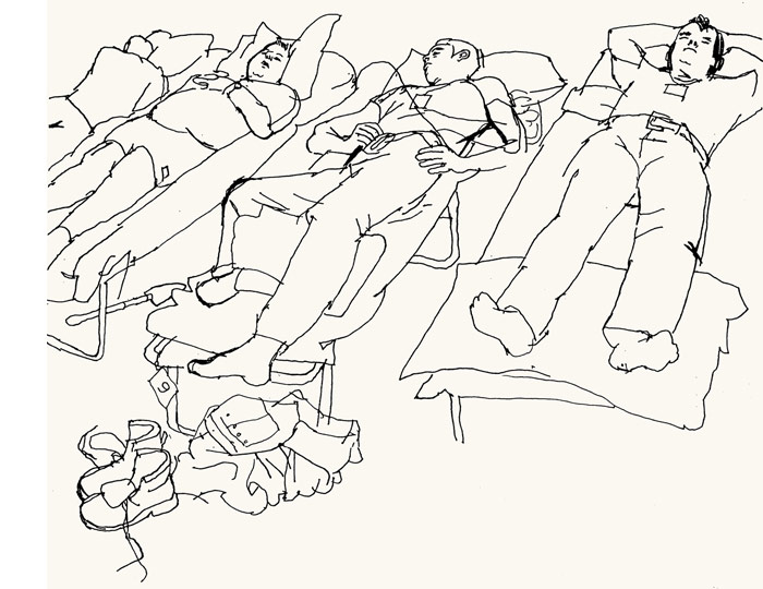 lucinda rogers ground zero line drawing september 11 new york city firefighters sleeping saint pauls chapel