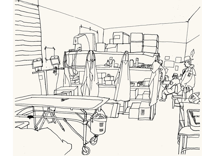 lucinda rogers ground zero ink line drawing september 11 new york city morgue