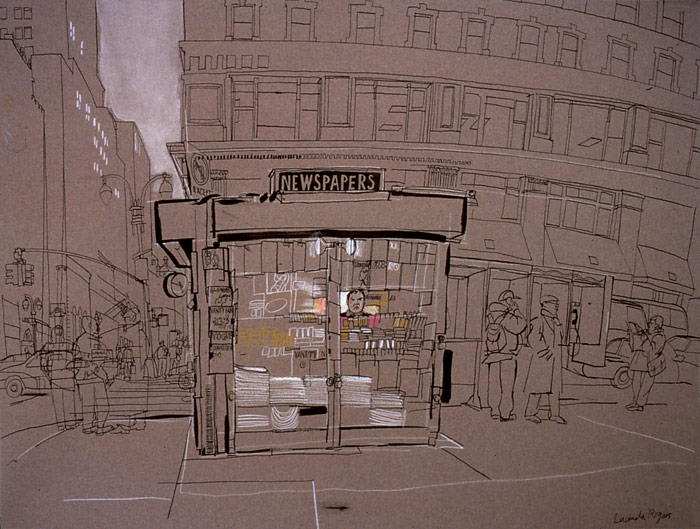 lucinda rogers ink drawing watercolour new york city street scene cityscape newsstand 42nd street