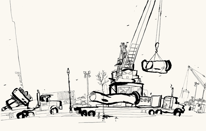 lucinda rogers ground zero line drawing black and white ink new york city street scene cars trucks cranes west street loading barges september 11
