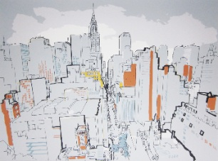 lucinda rogers screenprint prints for sale new york city cityscape chrysler building skyscrapers skyline Tudor City