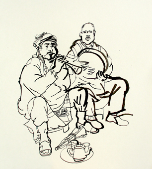 thumbnail lucinda rogers drawing Marrakech Musicians Hamid and Mustapha